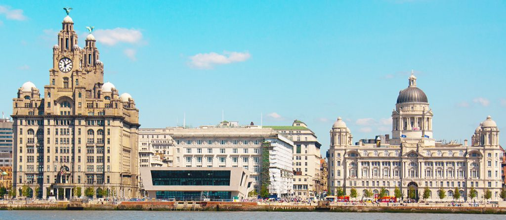 "Waterfront at Liverpool, England, showing the ""three graces"" - Liver,Cunard and Port buildings"