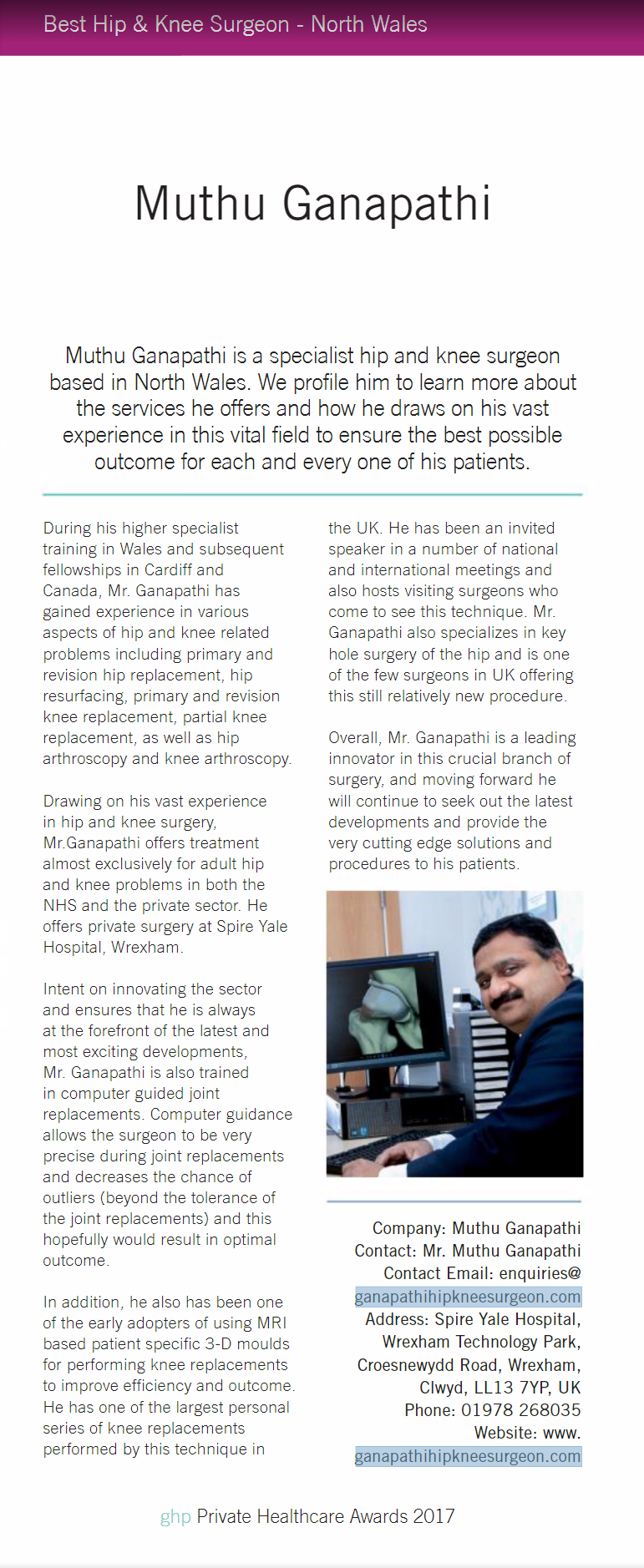 Mr  Ganapathi Hip & Knee surgeon North Wales, specialist hip